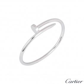 Cartier White Gold Plain Juste Un Clou Bracelet Size 17 B6048317